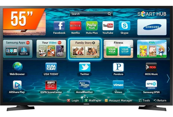 Smart Tv 55 Polegadas 4k Led Samsung 3 Hdmi 2 Usb Wi-fi