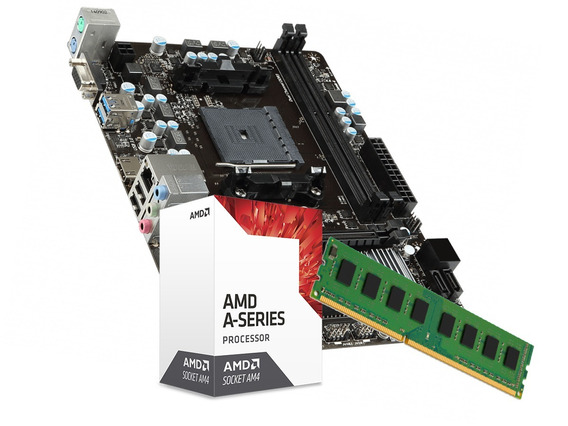 Kit Gamer Amd A6 7480 Placa Mãe A68 4gb Ddr3 Video R7 Series