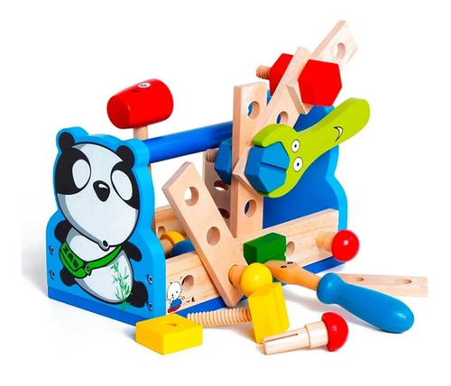 Caja De Herrramientas Panda De Madera Acool Ac6618 Full