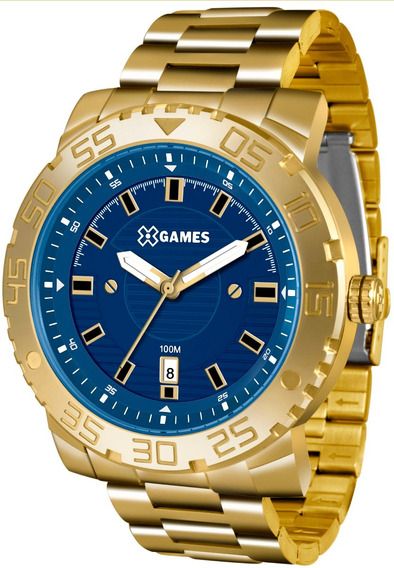 Relógio Xgames Masculino Xmgs1021 D2kx Azul Dourado Grande