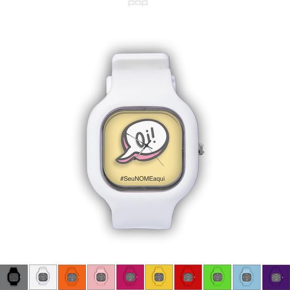 Relógio Pulseira Silicone Troca Cores Resistente Oi