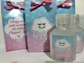 35 Frasco Álcool Gel / Lembrancinha + Caixinha / Rosa / Azul