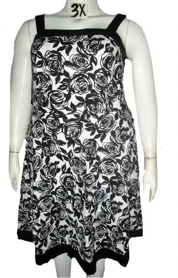 Vestido Blanco Estampado Con Rosas Negras Talla 3x (22/24w) R&k