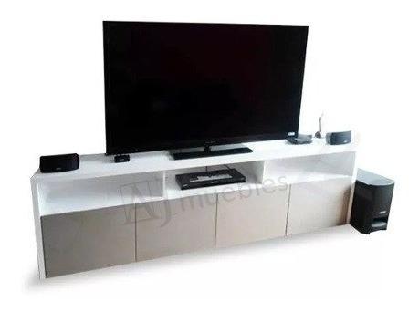 Mueble Tv/lcd Rack Laqueado 180x50con Puertas Moderno