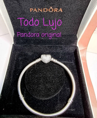 Imagen 1 de 6 de Pulsera Pandora Original Moments Corazon Pavé Y Logo Oferta