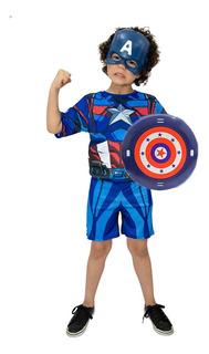 Fantasia Capitão America Com Escudo E Mascara Infantil Heroi