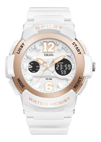 Smael - Reloj De Cuarzo Para Mujer, Multifunción, Deportivo,
