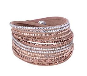 Bracelete De Couro Cor Café Light Com Strass - Glam0030