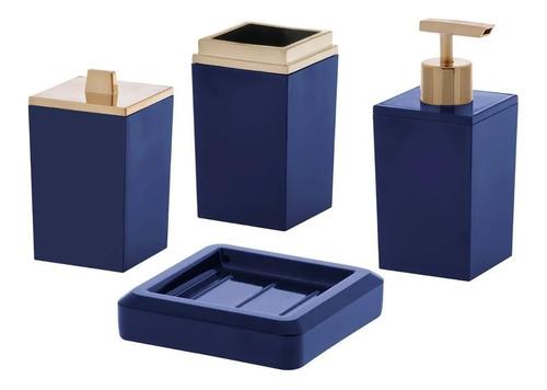 Jogo Para Banheiro Em Acrílico 4 Peças Lavabo Azul Paramount