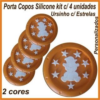 Porta Copos Silicone Kit 4 Und - Ursinho C/ Estrelas