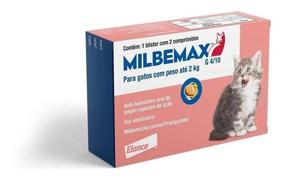 Vermifugo Milbemax Para Gatos Filhotes Até 2kg C/ 2 Comp.