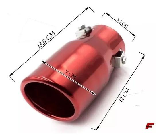 Ponteira Escapamento Universal Vermelho P/ Honda Civic 2001