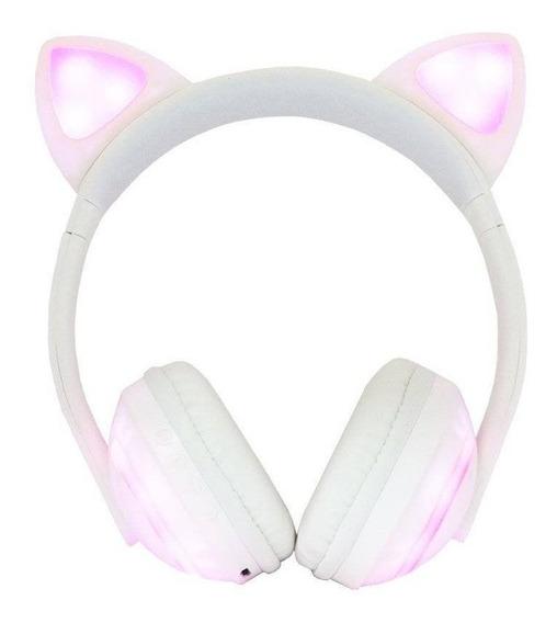 Fone Ouvido Gatinho Bluetooth Headfone Orelha Gato C/ Led P2
