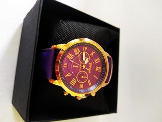 Relógio D Luxo Fem. Aço Pulseira D Couro Purple Fundo Purple