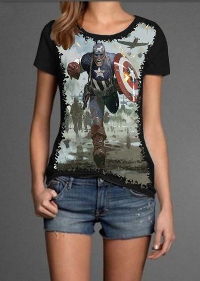 Blusa Feminina Super-heroi Capitão América