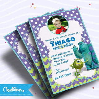 Monster Inc Vertical Tarjetas Invitaciones Personalizadas