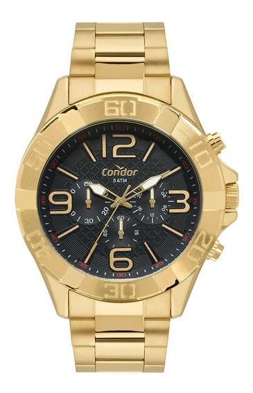 Relógio Masculino Dourado Grande Preto Condor Ouro 18k