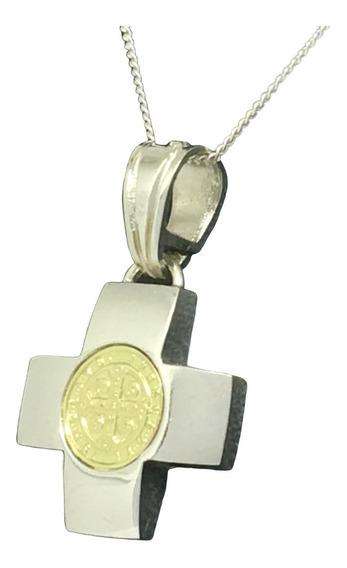 Cadena Cruz Equilibrio San Benito Ó Virgen Niña Plata Y Oro (ab17)