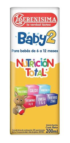 Imagen 1 de 1 de Leche La Serenisima Baby 2 X 200 3 Packs (90un)nutricia Bago