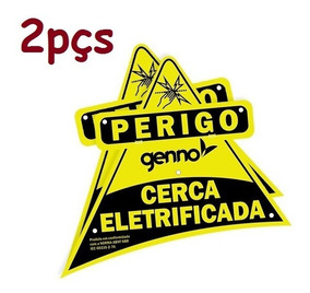 Placa Cuidado Cerca Eletrica Perigo Advertência 2pçs Genno