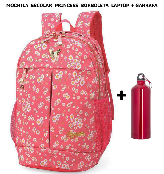 Mochila Escolar Princess Borboleta Laptop Notebook