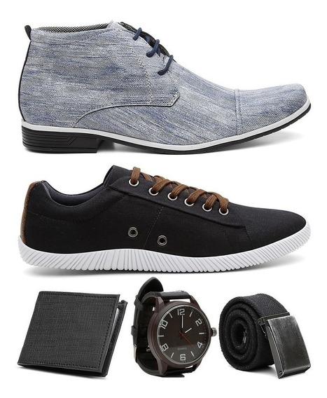 Kit Sapato Social Em Jeans + Sapatenis + Brindes Promoção