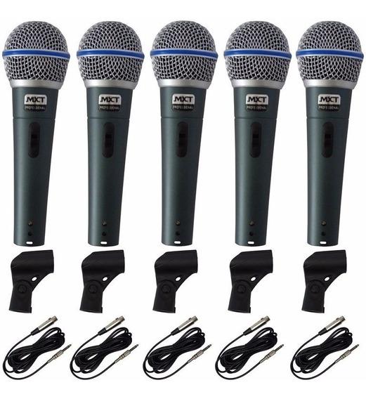Kit 5 Microfones Profissionais Mxt Bt58 Capa+cachimbos+cabos