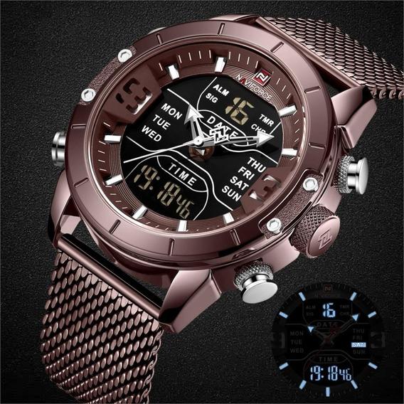 Relógio Masculino Naviforce 9153 Resistente Alarme Luz Led