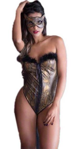 Lingerie Sensual Pantera Fantasia Fetiche Body + Mascara