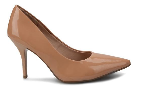 Sapato Scarpin Nude Salto Alto Verniz Beira Rio