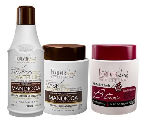 Forever Liss Kit Mandioca Power Life + Botox Capilar Argan