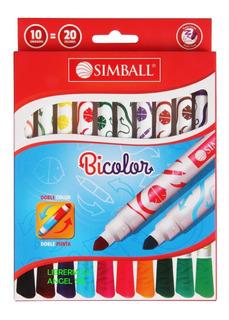 10 Marcadores Fibra Simball Doble Punta Bicolor 10=20