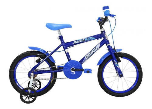 Bicicleta Cairu 16 Masc Racer Kids Azul E Preta