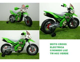 Moto Cross Electrica C/sonido Luz Tr1403 Verde Icb Technolog