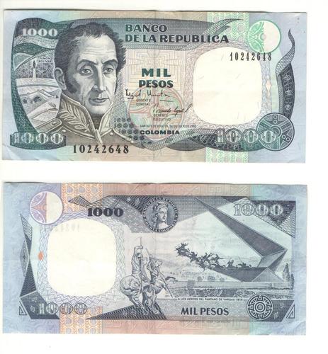 Imagen 1 de 1 de Billetes Antiguos Colombianos De Mil Pesos Serie 10242648