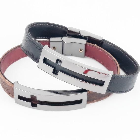 Pulseira Bracelete Couro Magnético Masculino Cruz Luxo Top