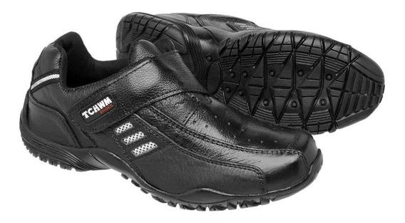 Sapato Tenis Masculino Fácil Calçar P/trabalho Couro Bovino