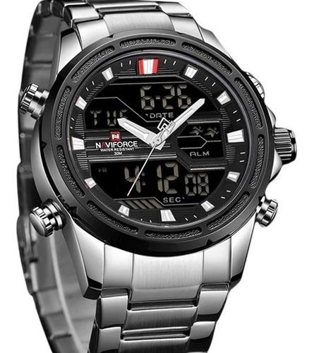 Relógio Masculino Top De Luxo  Naviforce Analógico Em Aço