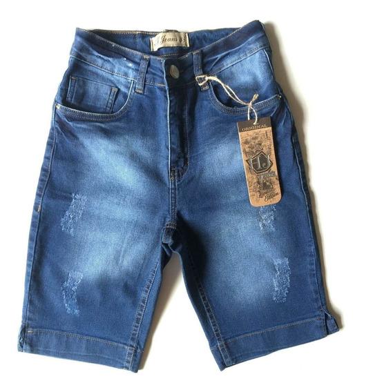 Bermuda Jeans Feminina Cintura Alta Pronta Entrega 1451