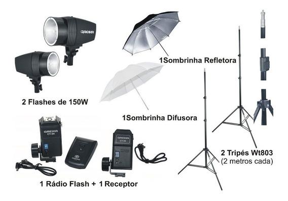 Kit Estudio Fotografico 300w Greika Argos Flash Tocha 110v