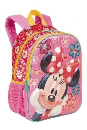 Mochila Infantil Minnie Mouse 19x Paetê Costas Tam M Sestin