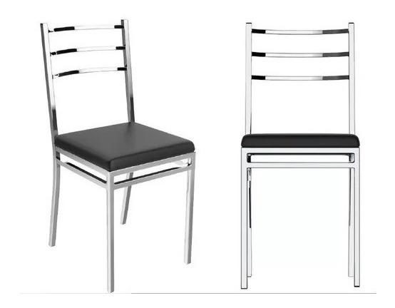 Cadeira Cozinha Cromada Quadrada Berlim - Flape - 1 Unidade