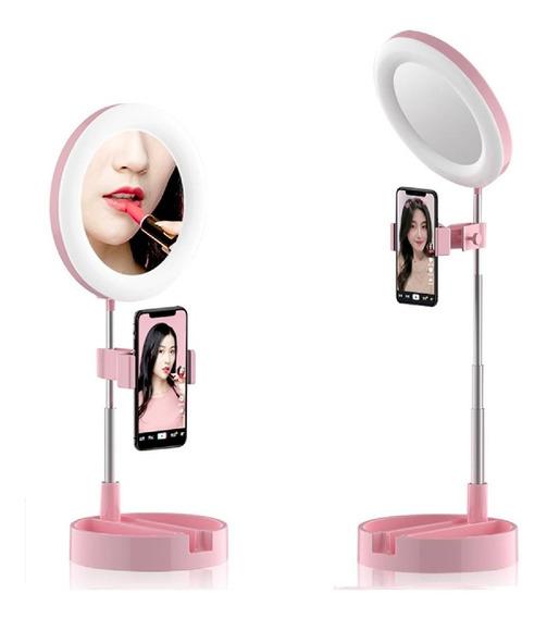 Espelho Luz Led Ring Light Mesa Maquiagem Portátil Celular