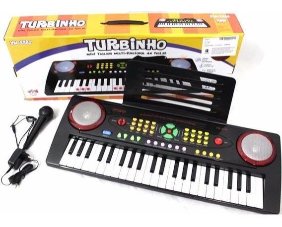 Teclado Infantil Mini Turbinho 44 Teclas Ym-238c C/microfone