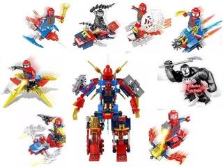 Juguete Spiderman Venon Bloques Pack8 Mini Figuras Araña