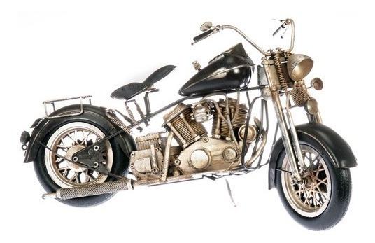 Moto Chopera Blanca Harley Miniatura Coleccionable Coleccion