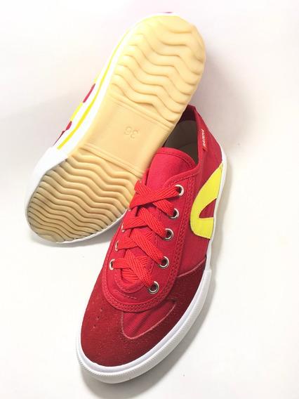 Tenis Rainha Vl2500 Futsal Vôlei Futebol Vermelho Amarelo.