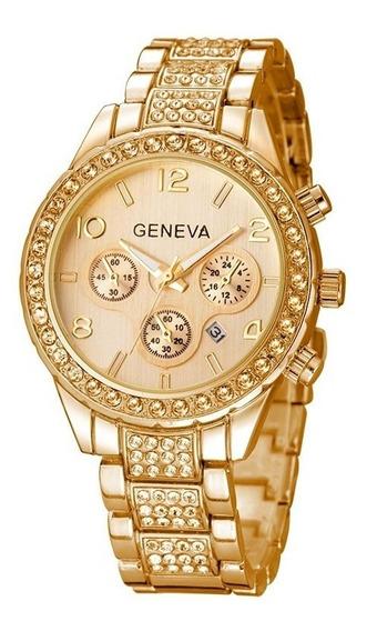 Relógio Feminino Dourado Geneva Strass Calendário Frt Grátis