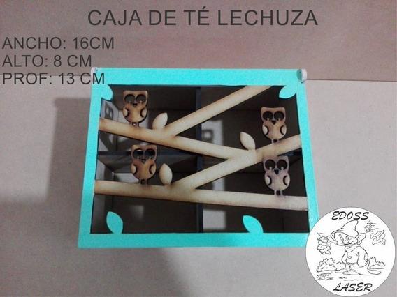 Caja De Té Lechuzas 4 Divisiones Pintada