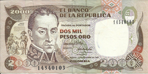 Colombia 2000 Pesos Oro 17 Diciembre 1990